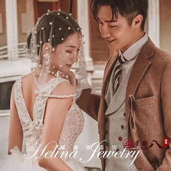頭紗 新娘復古珍珠短款頭紗發飾結婚紗頭網紅拍照道具影樓寫真韓式面紗 VK745