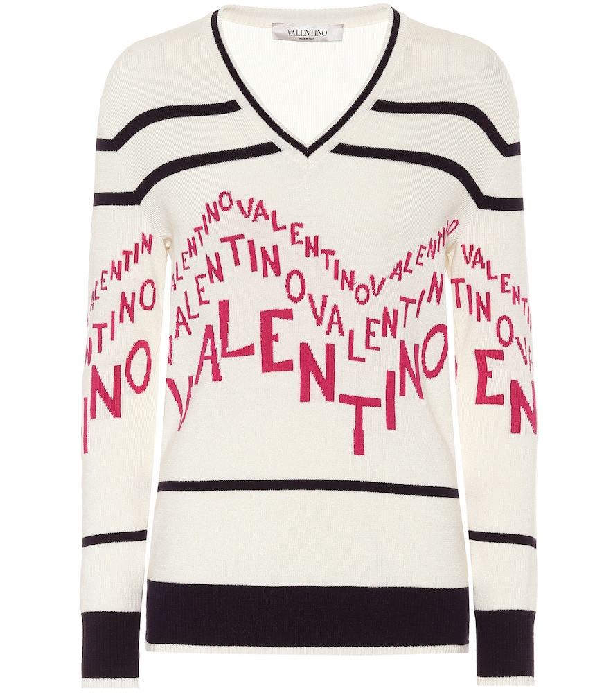 Exclusive to Mytheresa - Valentino logo striped wool sweater