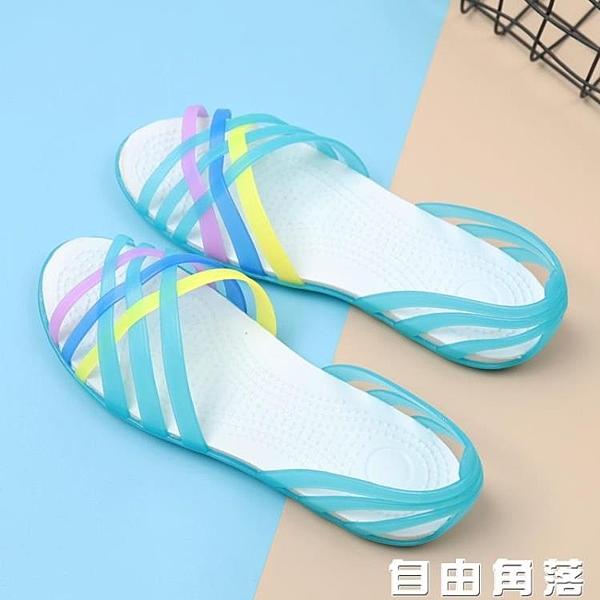 魚嘴涼鞋 夏季平底果凍鞋女軟底塑料涼鞋防滑雨鞋魚嘴海邊沙灘鞋大碼水晶鞋 自由角落