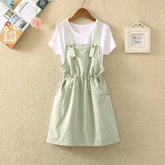 日系洋氣減齡背帶裙兩件套小個子甜美高腰顯瘦收腰連身裙套裝女