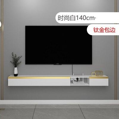電視牆置物架 小戶型輕奢壁掛電視櫃掛壁式創意後現代牆上懸掛一字板置物架吊櫃 『MY5638』