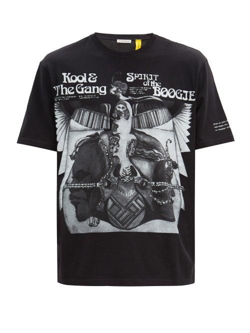 7 Moncler Fragment Hiroshi Fujiwara - Spirit Of The Boogie-print Cotton-jersey T-shirt - Mens - Blac