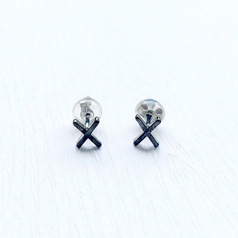XX極簡(琺瑯烤漆黑) 925純銀耳環(禮盒裝)  中性配戴