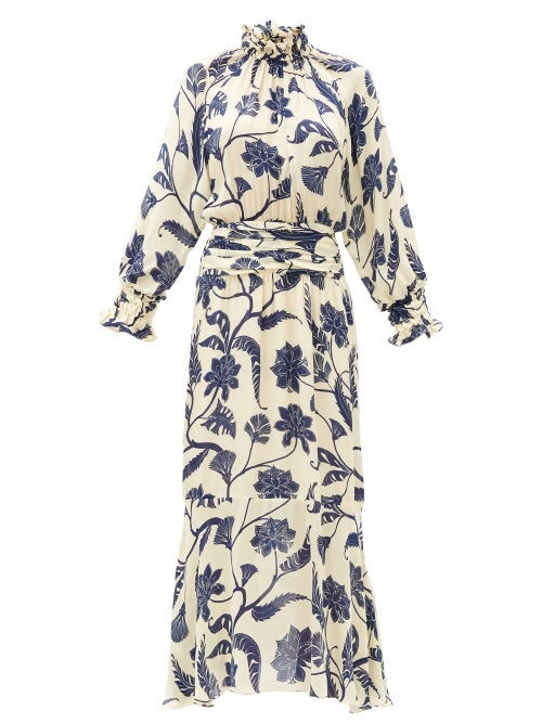 Johanna Ortiz - Sacred Writing Floral-print Silk Midi Dress - Womens - Blue White
