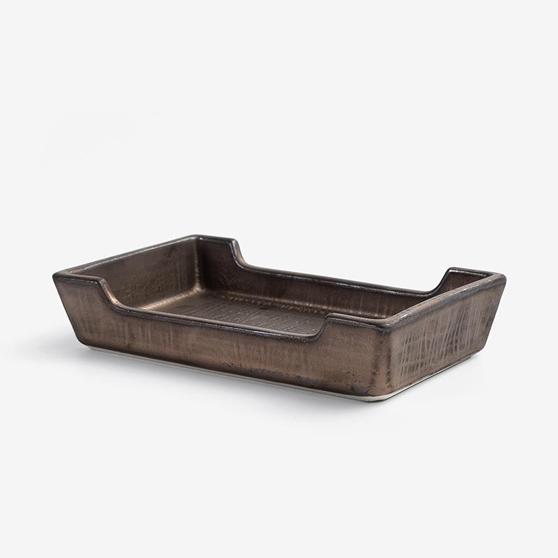 日式 銅釉流金 15cm 陶瓷小菜盤|古銅|單品
