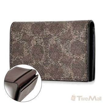 COACH 防刮皮革CLOGO 名片夾/信用卡夾(咖啡)