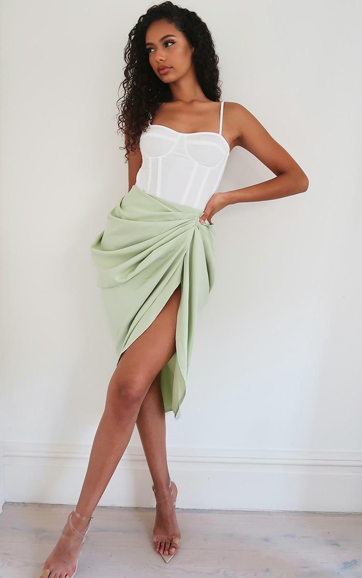 Sage Ruched Side Midi Skirt