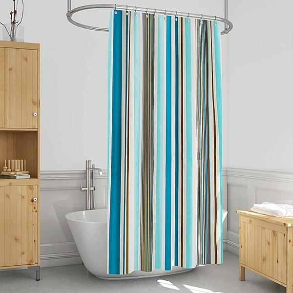 浴簾簡浪漫條紋衛生間浴簾套裝免打孔浴室隔斷簾防水加厚淋浴掛簾 花樣年華YJT