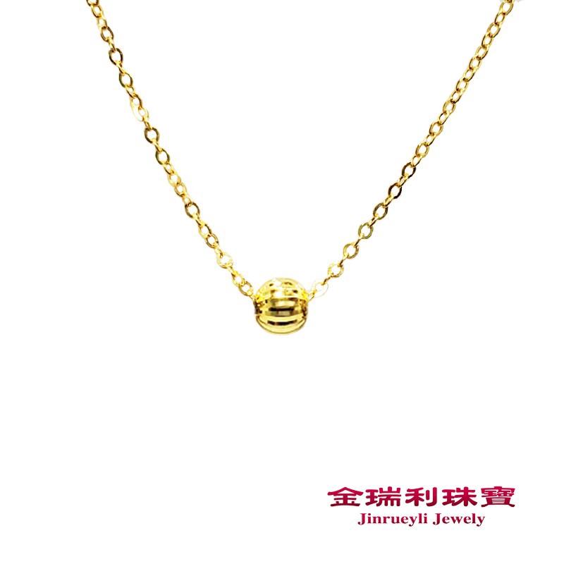 金瑞利珠寶9999純金 黃金金珠項鍊0.45錢3D硬金金珠5G黃金項鍊