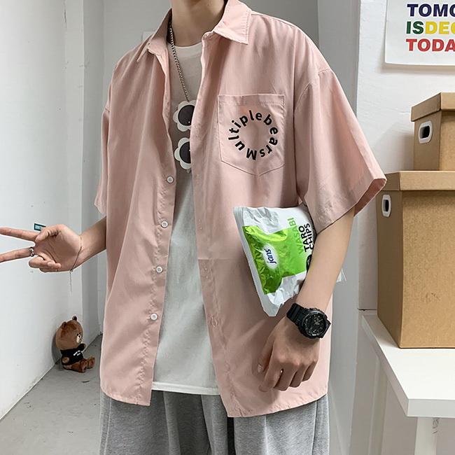 FOFU-短袖襯衫韓版字母印花休閒寬鬆短袖襯衫【08B-C0166】