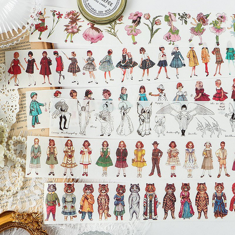 InfeelMe中世紀畫報和紙膠帶復古女孩芭蕾舞手帳裝飾貼畫長條裝