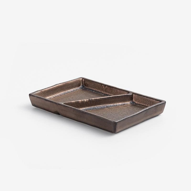 日式 銅釉流金 12cm 陶瓷雙拼醬料碟|古銅|單品