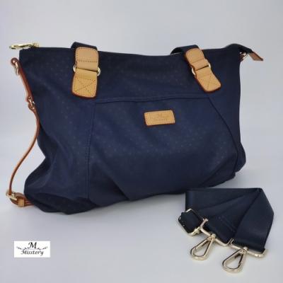 【Misstery】側肩包小圓點圖案斜背/側肩背包-藍(防潑水面料搭配頂級植鞣皮革)