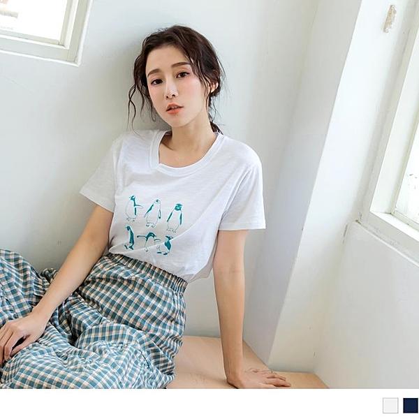 《AB12877》台灣製造.高含棉竹節棉趣味企鵝印花T恤上衣 OrangeBear