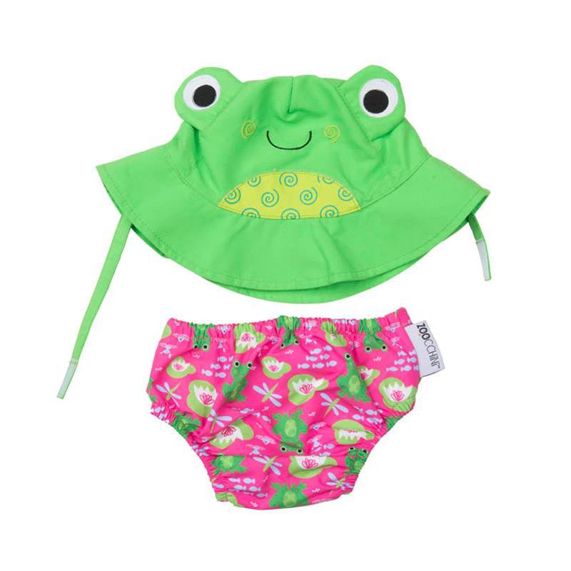 可愛動物尿布泳褲+遮陽帽/防曬帽 - 青蛙 12-24m (10-13 kgs)