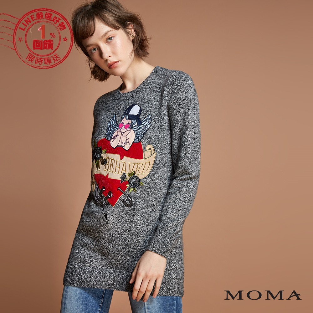 MOMA(92KM75)愛心丘比特長版上衣