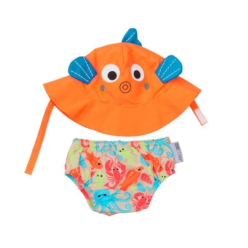 可愛動物尿布泳褲+遮陽帽/防曬帽 - 小魚 12-24m (10-13 kgs)