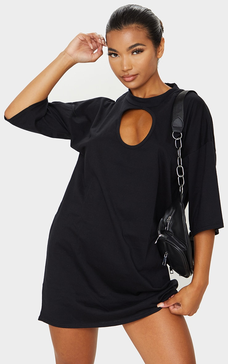 Black Keyhole Bust Detail T Shirt Dress