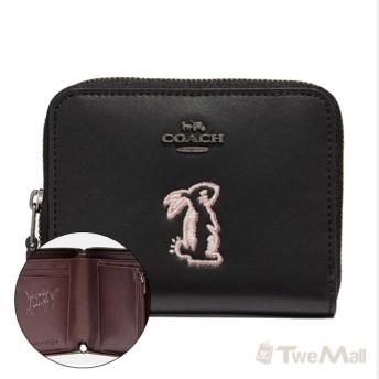 COACH 新款可愛兔子皮革拉鍊皮夾/短夾/零錢包(黑)