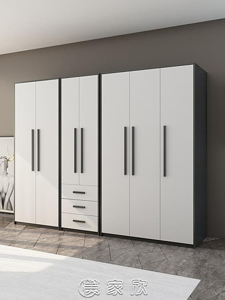 衣櫃 衣櫃現代簡約經濟型成人組裝北歐家用臥室平開門櫃子實木質大衣櫥 【現貨快出】