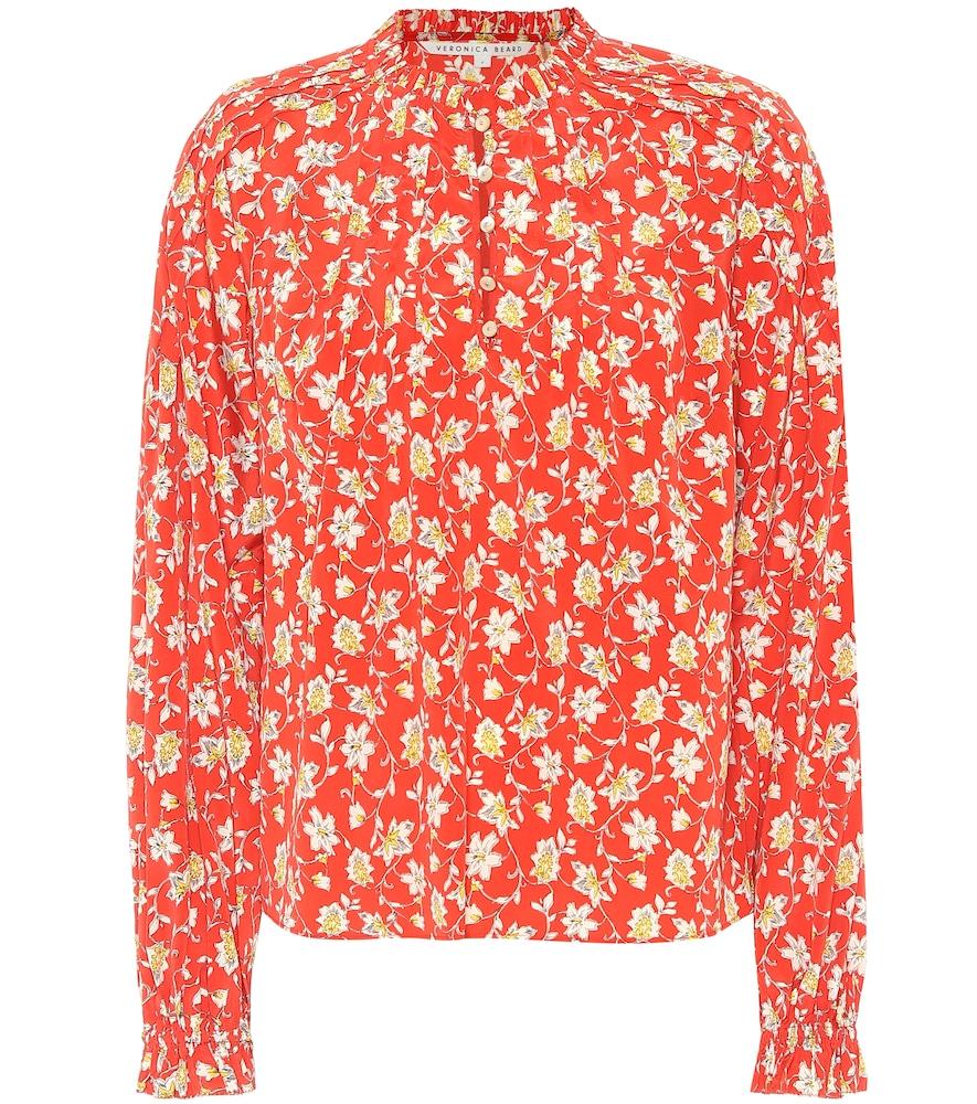 Reba floral stretch-silk blouse