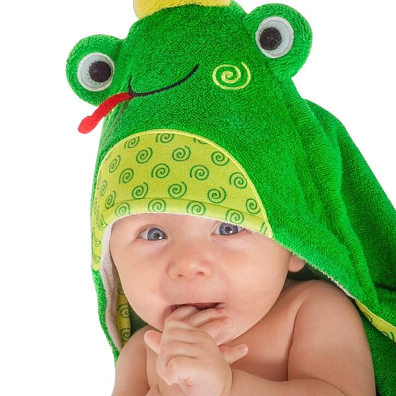 可愛動物連帽浴巾/保暖毯 - 青蛙(0-18m) F