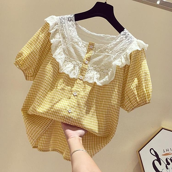 娃娃衫 小格子襯衫女短袖韓版寬松蕾絲拼接方領甜美娃娃衫上衣夏 麗人印象 免運