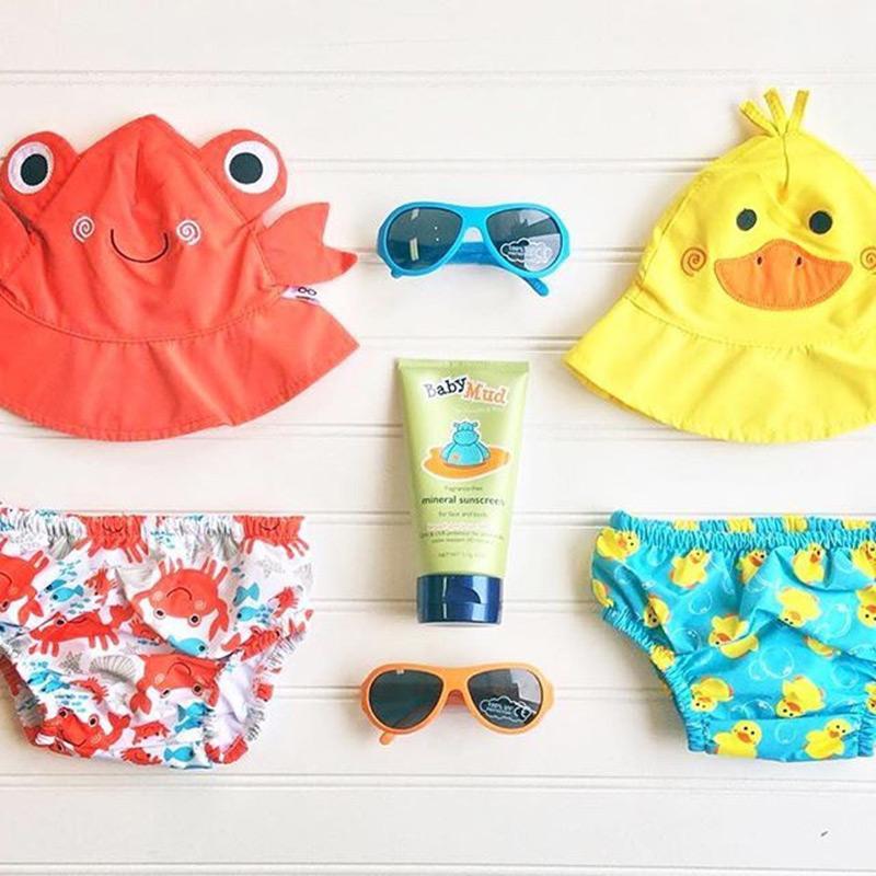 可愛動物尿布泳褲+遮陽帽/防曬帽 - 螃蟹 12-24m (10-13 kgs)