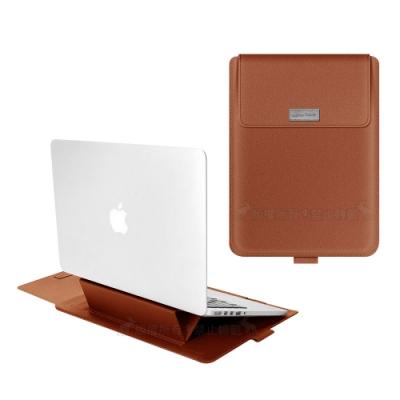 13.3吋 Macbook多功能筆電包 散熱支架+滑鼠墊+收納袋 手提內膽包(皮革棕)
