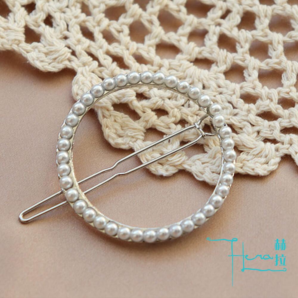 hera赫拉圓形鑲珍珠髮夾/裝飾夾