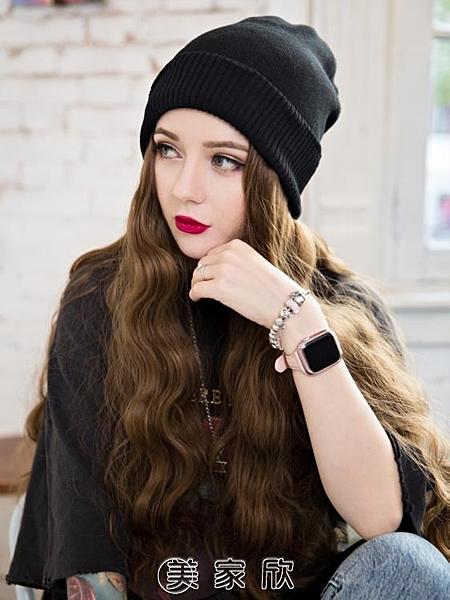 毛線帽子帶假發一體女秋款長發水波紋網紅時尚長卷發全頭套式 現貨快出
