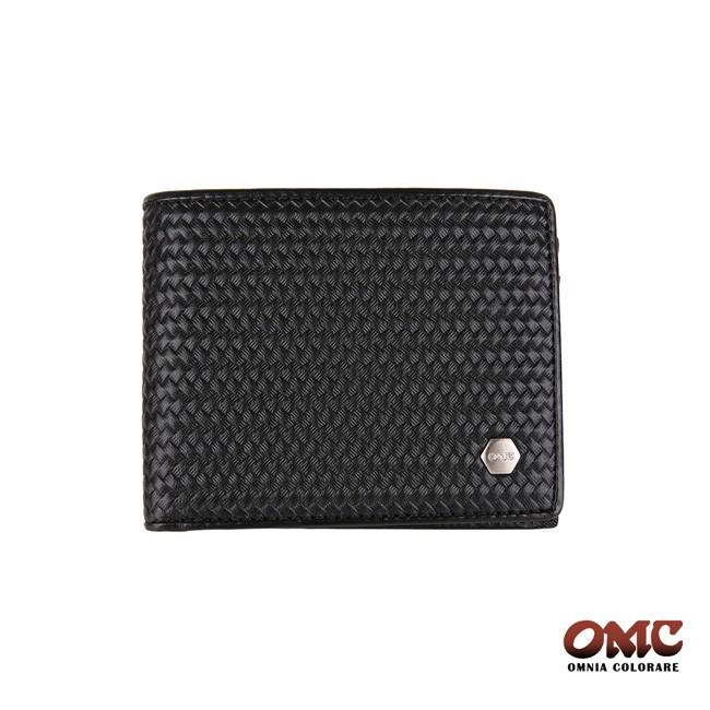 OMC 編織紋牛皮6卡中間翻透明窗零錢皮夾 短夾 錢包 OMC23806-1 廠商直送 現貨