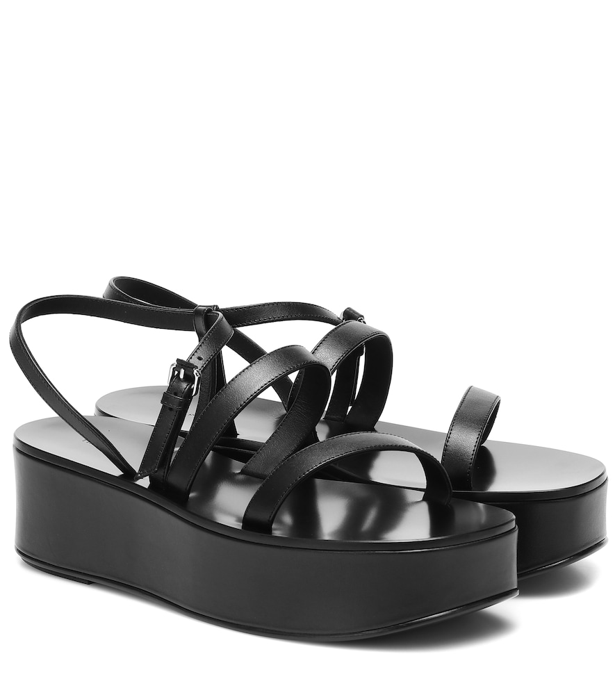 Wedge platform leather sandals