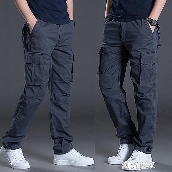 工裝褲男褲子休閒工作服勞保耐磨直筒寬鬆夏天夏季多口袋薄款『潮流世家』