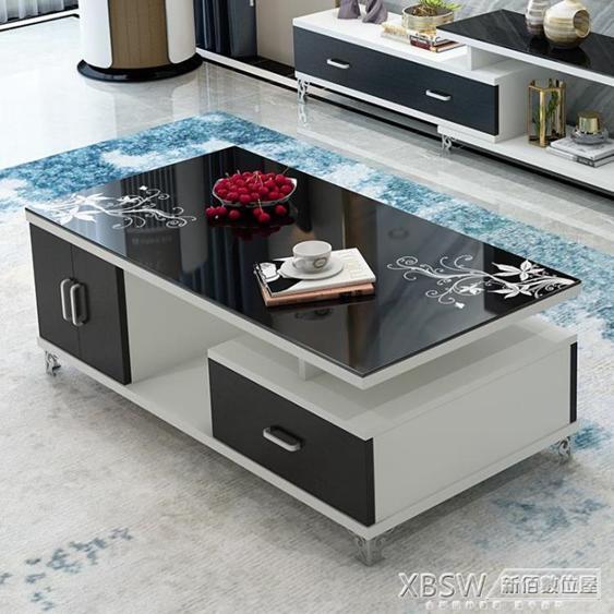 現代客廳家具 鋼化琴烤漆黑白色玻璃茶幾 簡約小戶型電視櫃桌CY