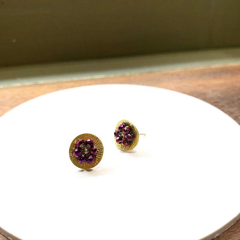夏日限量款_小花朵搖滾紫色水晶貼式銅耳環_可免費修改夾式耳環