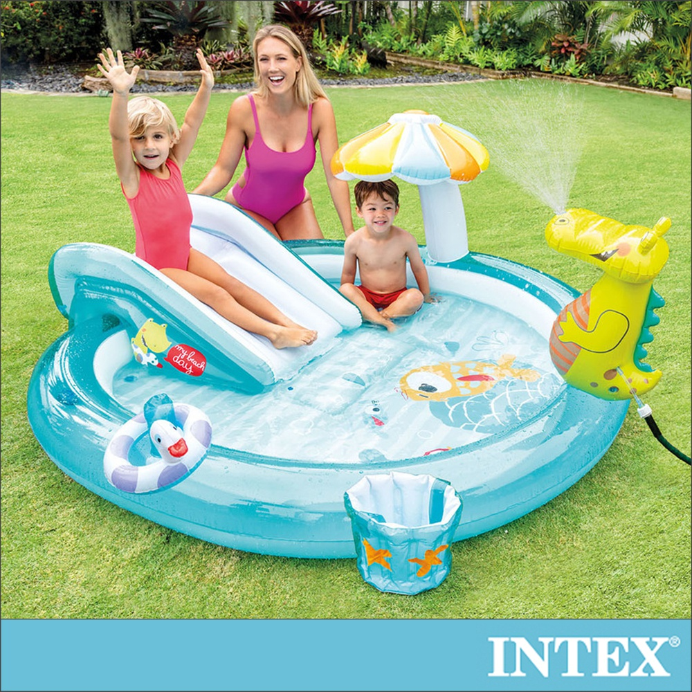 【INTEX】鱷魚沙灘戲水池201x170x25cm(160L) 適用2歲+(57165)