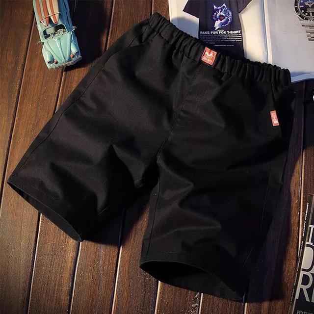 [現貨] 夏季休閒褲五分褲時髦短褲紅布標彈性褲男女情侶款小中大尺碼海灘褲沙灘褲【QZZZ17017】