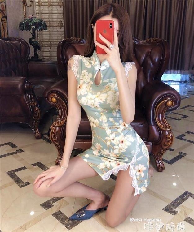免運 旗袍 時尚短款旗袍春夏裝2020新款年輕款修身改良版緊身性感少女連 韓國時尚週