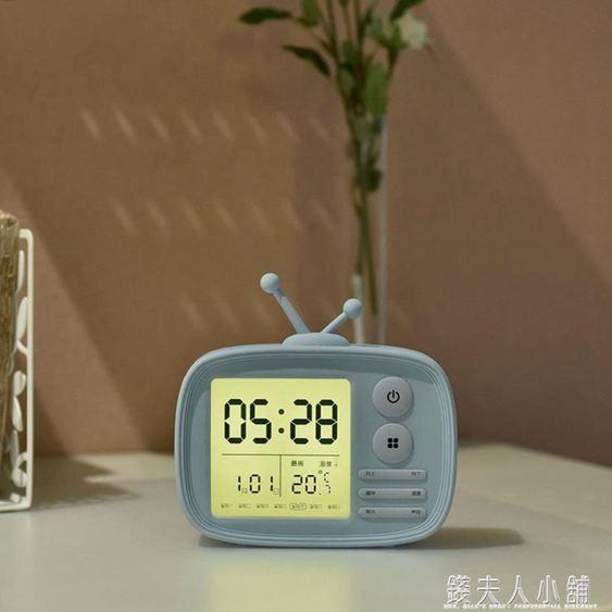 可愛小鬧鐘創意時尚電子鐘學生兒童鐘表臥室靜音床頭鐘可充電時鐘