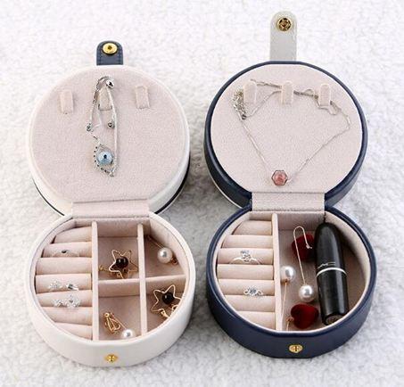 首飾盒便攜首飾盒歐式多功能收納盒創意小號耳環圓形收納盒