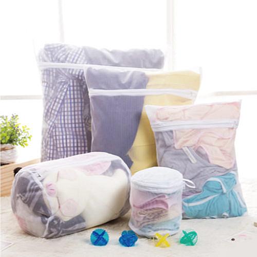 Qmishop 魔法方型大件洗衣袋 厚實立體蜂巢式衣物收納袋 密網36x45cm素面【J2273】