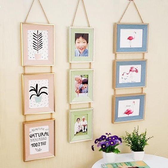 歐式三聯相框復古麻繩掛式組合照片牆5寸6寸7寸裝飾相框小舖