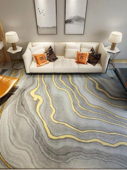 地毯後現代輕奢地毯客廳茶幾墊美式歐式臥室床邊毯滿鋪抽象藝術ins風
