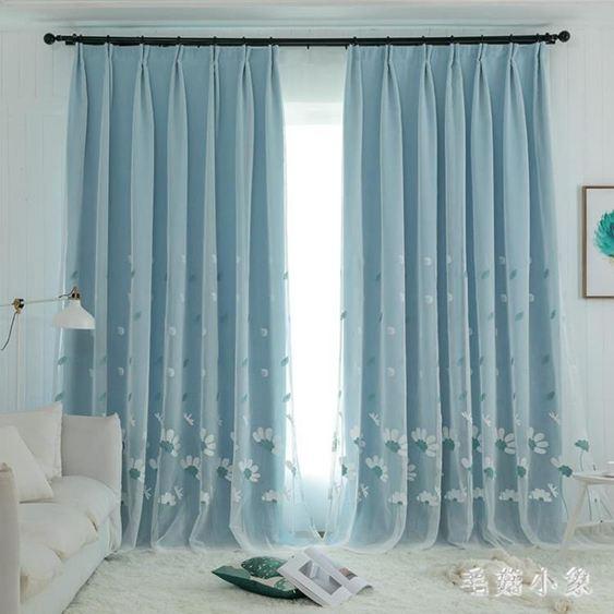遮光落地窗簾布紗布一體繡花窗簾紗田園小清新臥室飄窗客廳陽臺