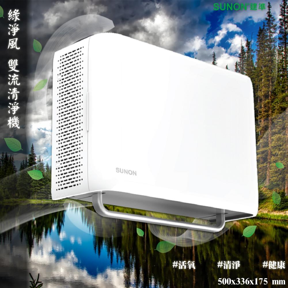 【SUNON】 Flow2one PLUS+ 綠淨風雙流新風機 空氣清淨機 抽風機 空氣偵測機 雙渦輪 大風量 淨化空氣