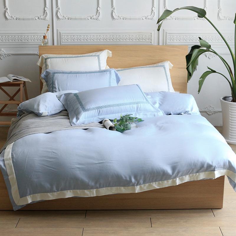 刺繡天絲系列 兩用被床包四件組-雙人標準5尺 (六色可選) 雲母紫