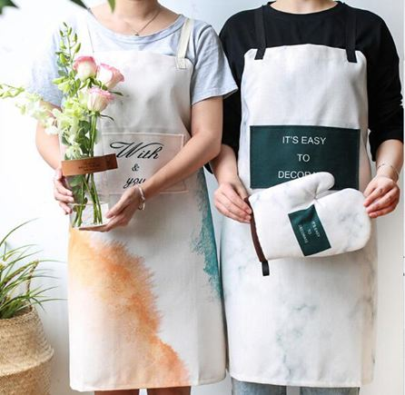 圍裙創意彩繪布藝創意半身圍裙韓版時尚廚房家居烘焙手套餐墊
