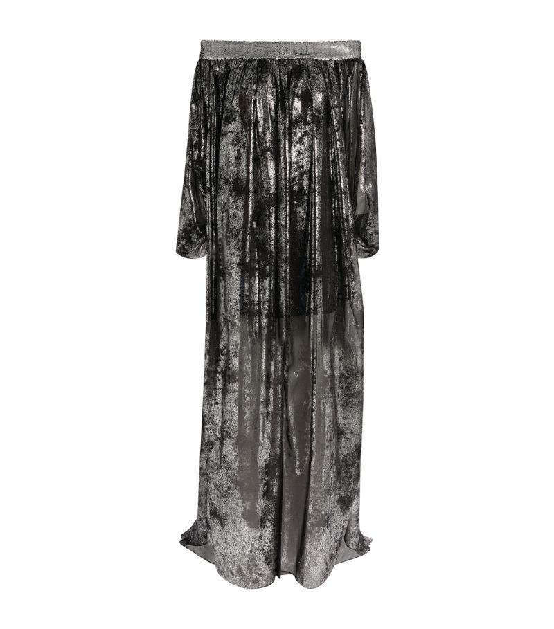 Halpern Metallic Off-The-Shoulder Gown
