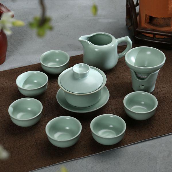 茶具真盛整套哥窯汝窯功夫茶盤套裝茶壺茶海青瓷紫砂冰裂開片